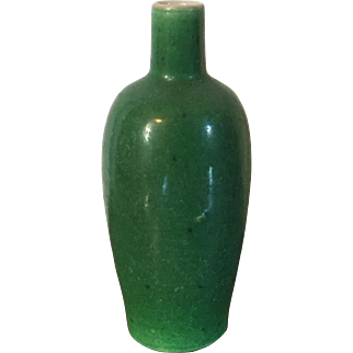 Small Antique 18th / 19th century Chinese Monochrome Glaze Green Porcelain Miniature Vase