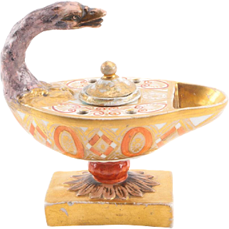Antique Late 18th / Early 19th century Italian Naples Porcelain Neoclassical Inkwell in the Form of an Aladdin's Lamp with Goose Neck 1800