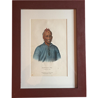 Antique 19th c. McKenney & Hall Hand Colored Native American Print of Kish - Kal - Wa A Shawanoe Chief 1855 Indian Tribes of North America