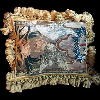 Antique 18th century French Aubusson Verdure Tapestry Pillow with Gold Fringe & Velvet Back