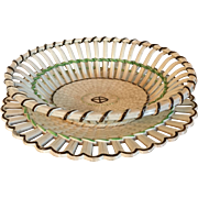Antique Early 19th century Wedgwood Creamware Chestnut Basket & Stand or Platter with Basketweave Design 1800 - 1820