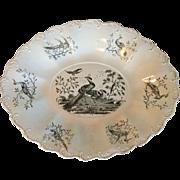 Antique 18th century Wedgwood Liverpool Exotic Bird Creamware Platter 1760 - 1790