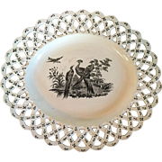 Antique 18th century Wedgwood Liverpool Exotic Bird Creamware Platter with Basketweave Border 1760 - 1790