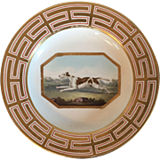 Large Antique Early 19th century Derby Porcelain Plate Decorated with a Hand Painted Hunting Dog Coursing in Landscape c. 1800 - 1820