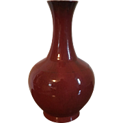 Large Antique 19th century Chinese Monochrome Sang de Boeuf Oxblood Porcelain Bottle Shape Vase