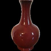 Large Antique 19th century Chinese Monochrome Sang de Boeuf Oxblood Porcelain Bottle Shape Vase