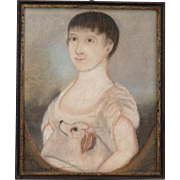 Antique Early 19th century American Federal Pastel Portrait of a Young Girl with Her Dog 1800 - 1810