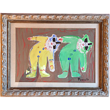 Mid Century Modern Painting of Two Clowns in Original Heydenryk Carved Wood Frame Signed Poucette