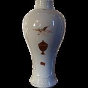 Antique 18th century Chinese Export Porcelain Baluster Shape Basketweave Vase American Federal Market 1790 - 1810 Heraldic Angel Gabriel & Urn Motif