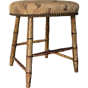 Antique Early 19th century American Empire Mustard Chrome Yellow Paint Decorated Faux Bamboo Windsor Stool with Upholstered Seat