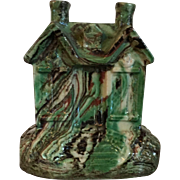 Antique 19th century Staffordshire Scroddle Ware Agate Glaze House Cottage Form Still Bank in the Whieldon Manner