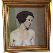 Woman Artist Self Portrait Nude Torso Oil Painting on Canvas Peggy Bacon (1895 - 1987) in Period Carved Gilt Wood Frame 1930 Jazz Age Art Deco
