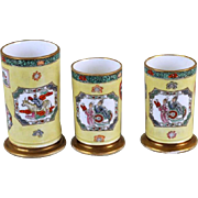 Garniture of Three Antique Early 19th century English Mason's Ironstone Porcelain Spill Vases in the Chinese Imari Taste 1820