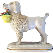 A Large and Important 19th c. Antique Staffordshire Pearlware Dog by John & Rebecca Lloyd of Shelton Figure of a Poodle Carrying a Basket of Fruit in its Mouth 1840