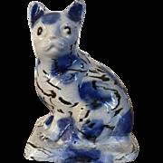 Antique 18th century Staffordshire Salt Glaze Stoneware Agate Model of a Cat 1740