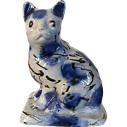 Antique 18th century Staffordshire Salt Glaze Stoneware Agate Model of a Cat 1740