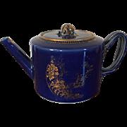 Antique 18th century Chinese Export Porcelain Tea Pot with Powder Blue Glaze Enhanced by Gilding