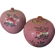 Small Pair Antique 19th century Chinese Export Porcelain Jars or Vases with Lids; Incised Pink Glaze and Flower Peach Fruit Decoration