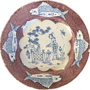 Antique 18th century English Liverpool Delft Tin Glaze Faience Plate in Manganese Glaze Decorated with a Chinese Chippendale Scene with Cod Fish Border 1760