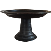 Antique 19th c. Balinese Offering Serving Plate Turned Wood Display Tazza Plateau Centerpiece Pedestal