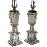 Pair Antique 19th c. American Empire Classical Boston & Sandwich Flint Glass Urn Form Whale Oil Fluid Lamps Electrified