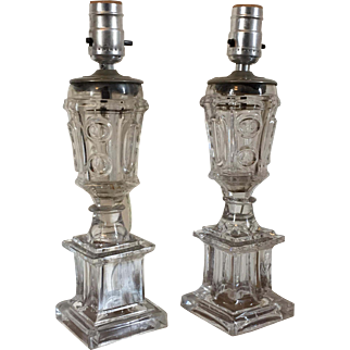Pair Antique 19th c. American Empire Classical Boston & Sandwich Flint Glass Urn Form Whale Oil Fluid Lamps Electrified