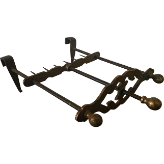 Antique 19th century English George III Brass & Iron Meat or Game Bird Cooking Rack Spit Tool for the Fireplace Hearth