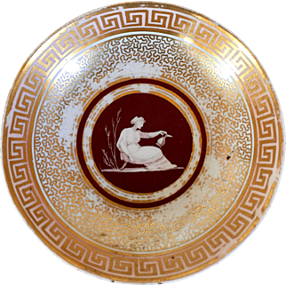 Antique Early 19th century English George III Coalport Porcelain Saucer Plate Dish Decorated with Neoclassical Figure and Greek Key Border 1805