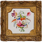 Large Antique Early 19th century English Regency Derby Porcelain Botanical Wall Plaque with Hand Painted Flowers in Gilt Wood Frame