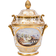 Antique Early 19th century English Coalport Porcelain Fruit Cooler Decorated with Landscape and Floral Reserves with Gilt Greek Key Border