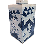 Large Antique 19th century Chinese Export Canton Porcelain Blue and White Square Tea Canister Caddy Vase