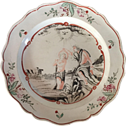 Antique 18th century English George III Staffordshire Leeds Creamware Pottery Plate with Hand Painted Jesus Figure Depicting the Baptism of Christ 1780 - 1790