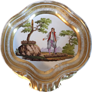 Antique Early 19th century French Empire Paris Porcelain Shell Shape Dish with a Figure of the Revolution in Landscape 1790 - 1800