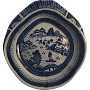 Antique Early 19th century Chinese Export Porcelain Blue & White Canton Shell Shape Shrimp Dish with Harbor Landscape