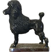 Vintage English Bronze Standard French Poodle Figural Dog Car Mascot Hood Ornament Paperweight