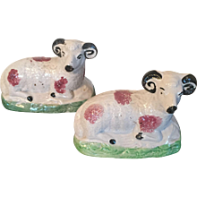 Pair Antique Early 19th century English George III Staffordshire Pearlware Walton Figures of Rams or Sheep 1810