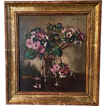 Hetty Broedelet Oil Painting on Wood Board Floral Still Life Cut Primula in a Glass 1920 - 1930