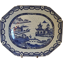 Very Large Antique 18th century Chinese Export Porcelain Platter Decorated with a Harbor Landscape Scene with Pavilion or Pagoda in Blue & White Glaze 1780