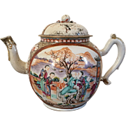 Very Large Antique 18th century Chinese Export Porcelain Famille Rose Palace Ware Tea Punch Pot in the Rockefeller Pattern