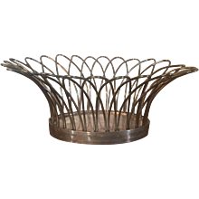 Antique 19th century English Regency Neoclassical Sheffield Silver Plate Wire Work Basket of Small Size