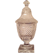 Antique 19th century English Regency Anglo Irish Cut Glass Crystal Urn Covered Vase