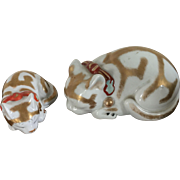 Pair Antique Japanese Meiji Kutani Porcelain Cat & Kitten Figures