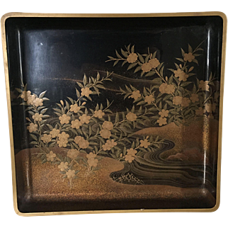 Japanese Black and Gold Square Wooden Lacquer Tray with Gilt Landscape Scene in the Art Deco Taste