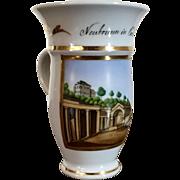 Antique 19th century Empire Biedermeier Grand Tour German Spa Cup with Scene of Neubrunn in Carlsbad