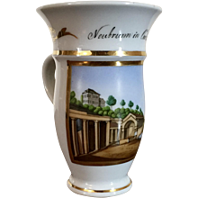 Antique 19th century Empire Biedermeier Grand Tour German Spa Cup with Scene of Neubrunn in Carlsbad