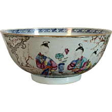 Antique 18th century Chinese Export Porcelain Bowl in Famille Rose Palette Decorated with Ladies in Interior Domestic Court Scenes