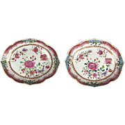 Pair Antique 18th century Chinese Export Porcelain Dishes Plates or Low Bowls in Famille Rose Palette