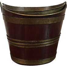 Antique Early 19th century English Regency Navette Shape Mahogany Peat Bucket with Brass Liner