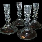 Set 4 Georgian Anglo Irish Cut Crystal Candlesticks Finest Quality Glass - 19th century
