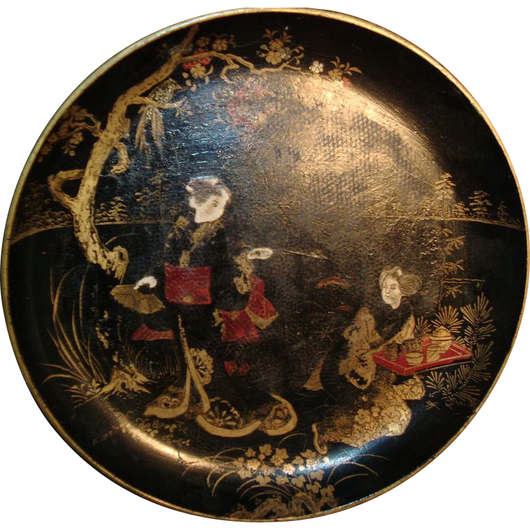 19th c. Lacquer Papier Mache Bowl or Tray with Chinese Figures / Tea Ceremony in Landscape